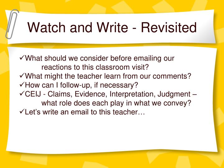 Watch and Write - Revisited