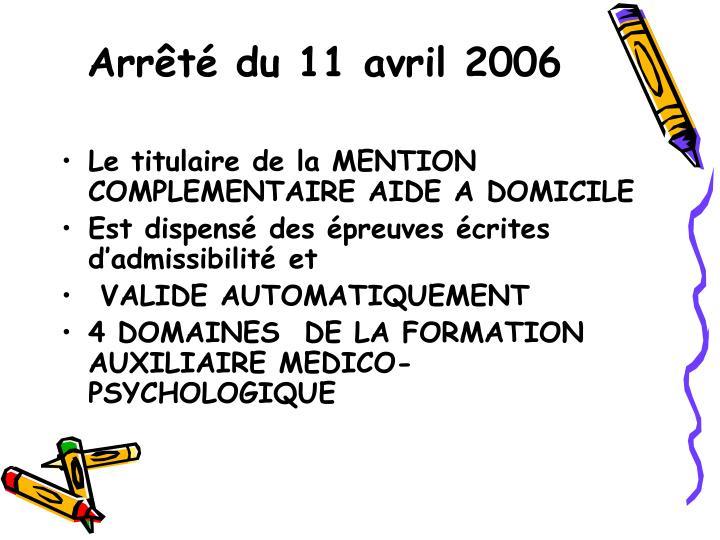 Arrêté du 11 avril 2006