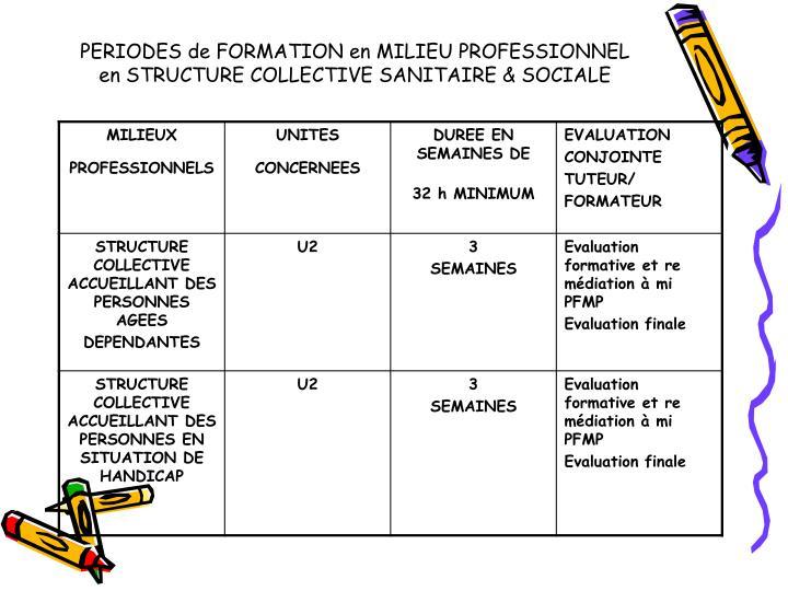 PERIODES de FORMATION en MILIEU PROFESSIONNEL en STRUCTURE COLLECTIVE SANITAIRE & SOCIALE