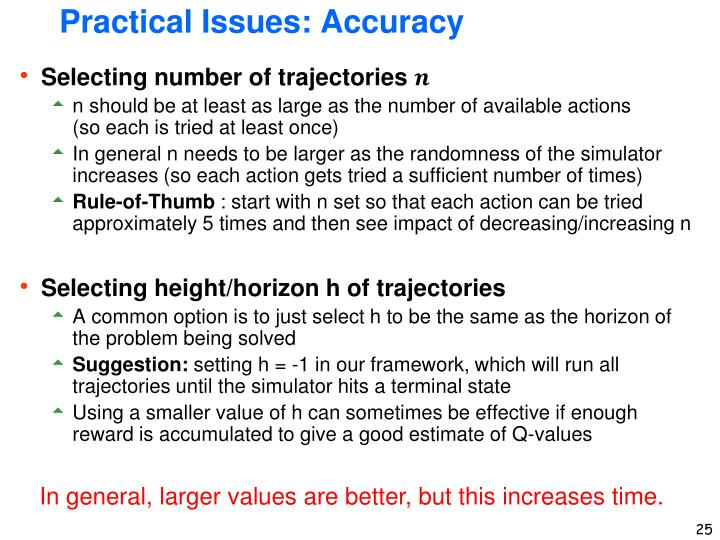 Practical Issues: Accuracy