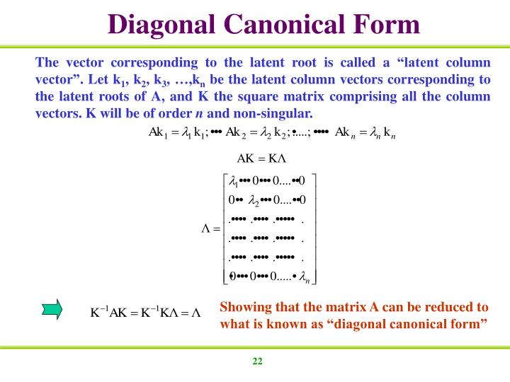 Diagonal Canonical Form