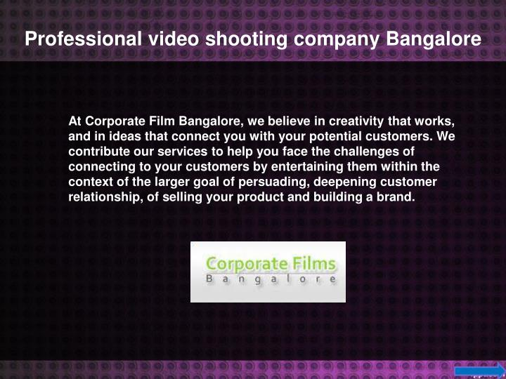 Professional video shooting company Bangalore