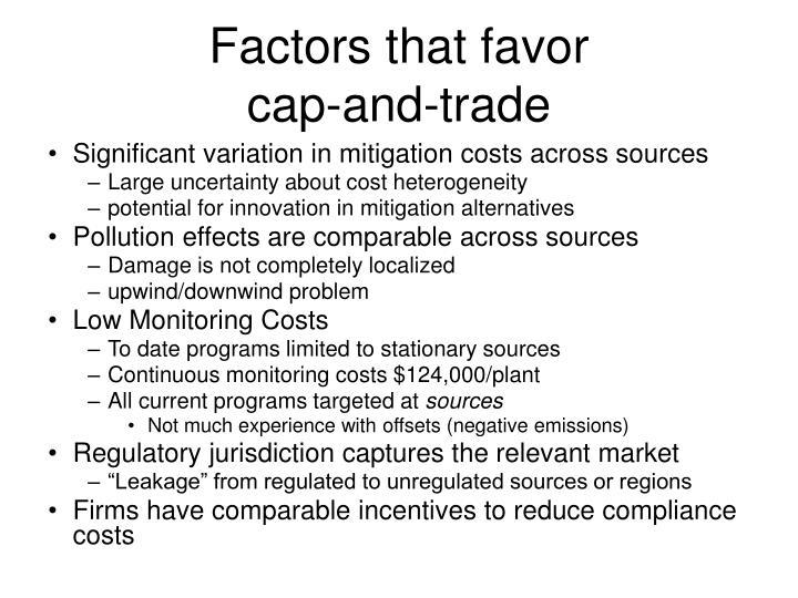 Factors that favor