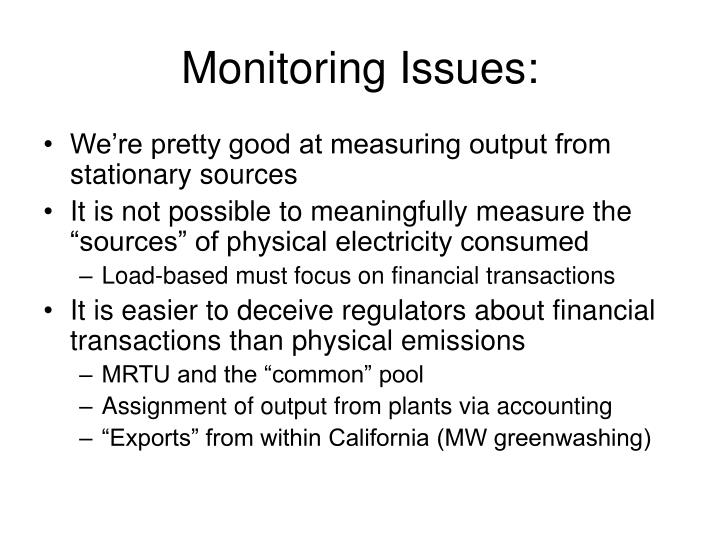 Monitoring Issues: