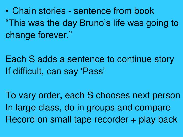 Chain stories - sentence from book