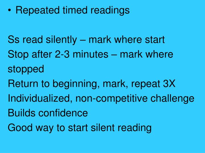 Repeated timed readings