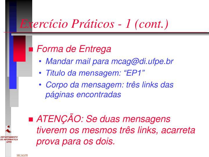 Exercício Práticos - 1 (cont.)