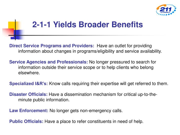 2-1-1 Yields Broader Benefits