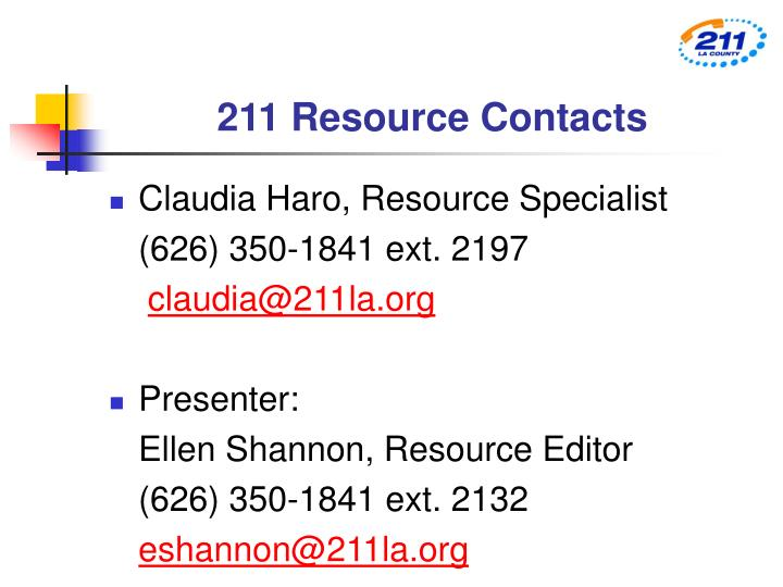 211 Resource Contacts