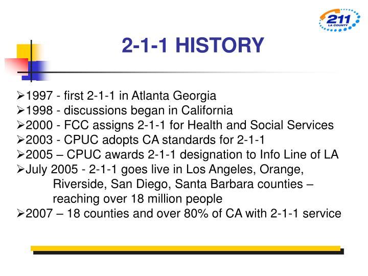 2-1-1 HISTORY