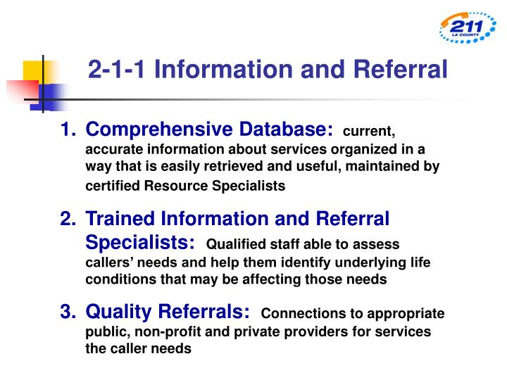 2-1-1 Information and Referral