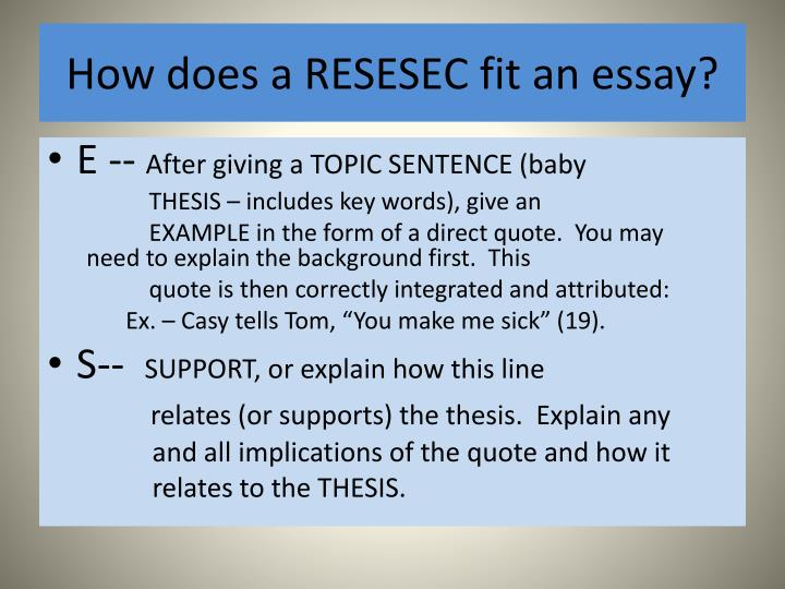 How does a RESESEC fit an essay?