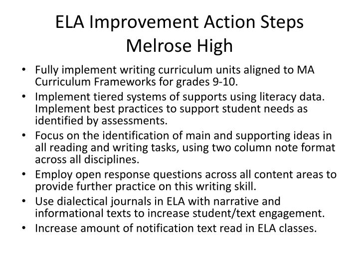 ELA Improvement Action Steps Melrose High
