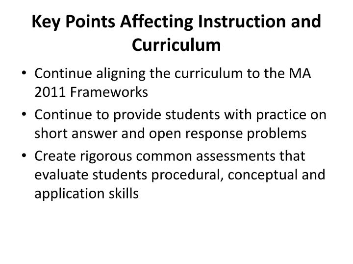 Key Points Affecting Instruction and Curriculum