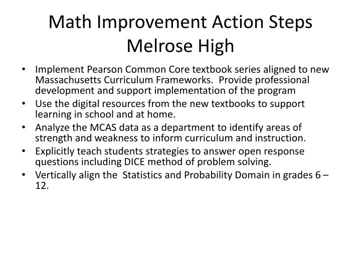 Math Improvement Action Steps Melrose High