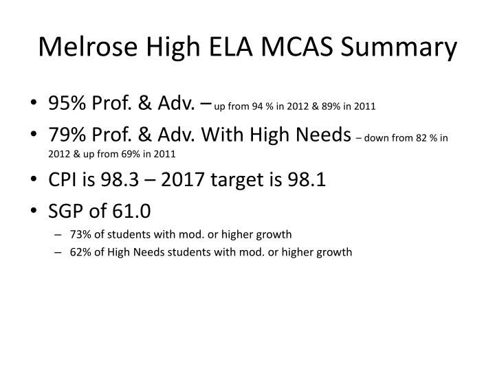 Melrose high ela mcas summary