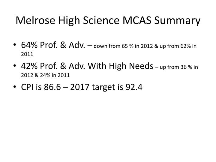 Melrose High Science MCAS Summary
