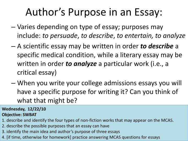 Author's Purpose in an Essay