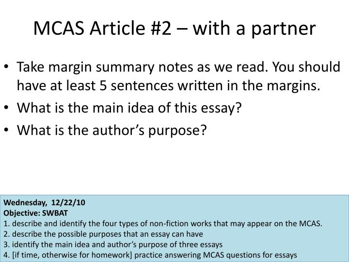 MCAS Article #2 – with a partner