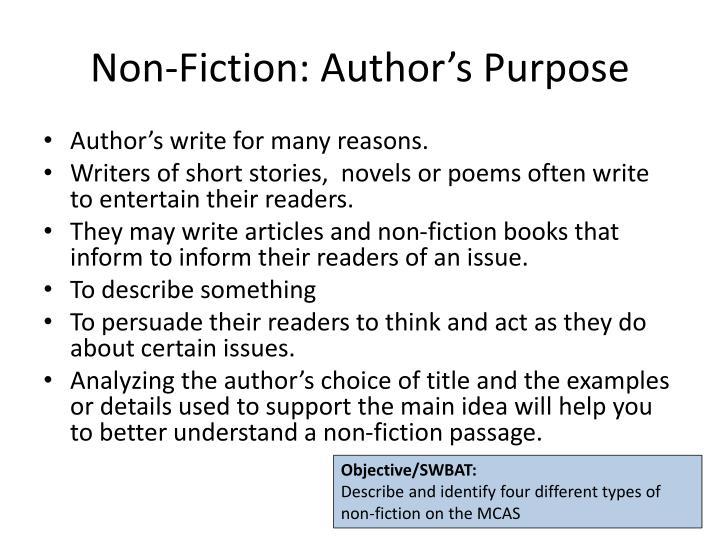 Non-Fiction: Author's Purpose
