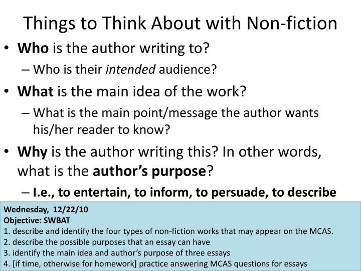Things to Think About with Non-fiction