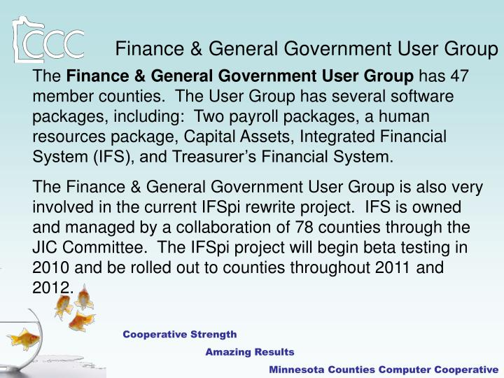 Finance & General Government User Group