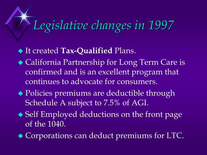 Legislative changes in 1997