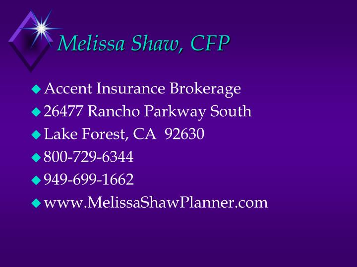 Melissa Shaw, CFP