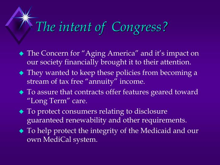 The intent of  Congress?
