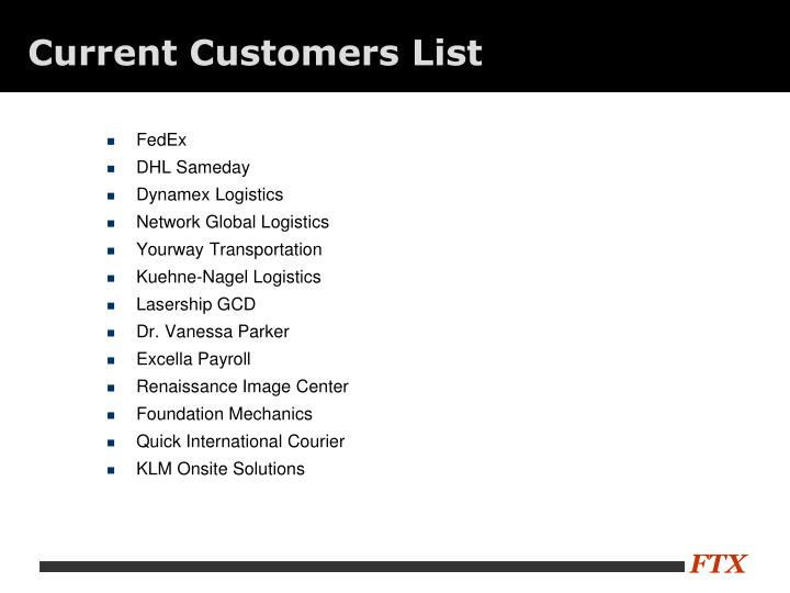Current Customers List