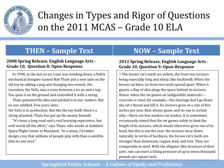 Changes in Types and Rigor of Questions on the 2011 MCAS – Grade 10 ELA