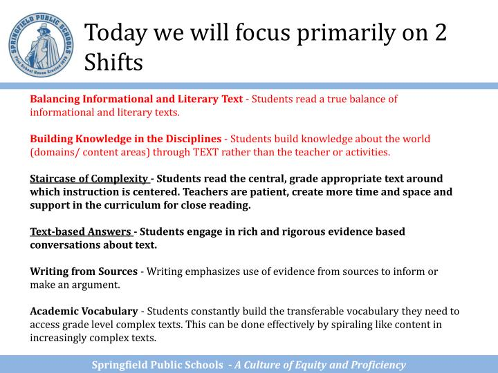 Today we will focus primarily on 2 Shifts