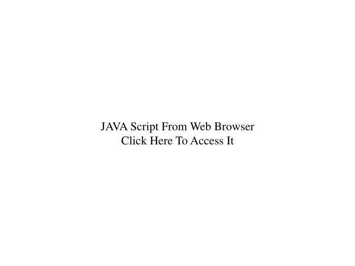 JAVA Script From Web Browser