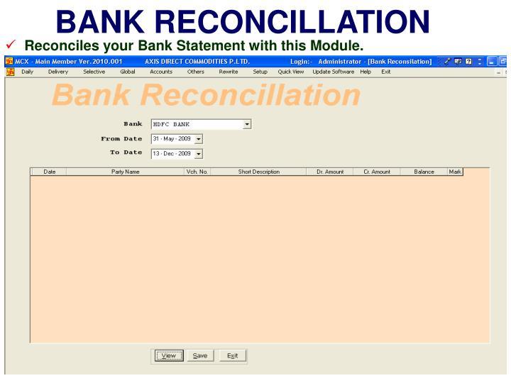 BANK RECONCILLATION
