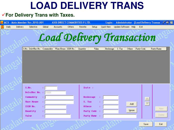 LOAD DELIVERY TRANS