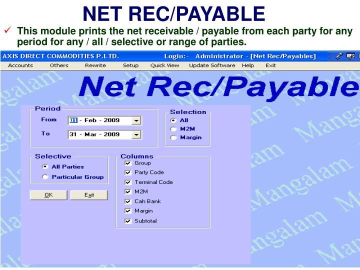 NET REC/PAYABLE