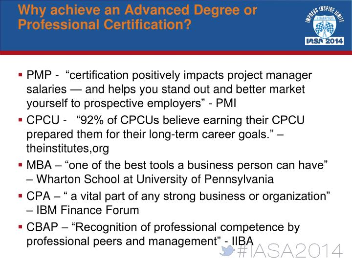 Why achieve an Advanced Degree or Professional Certification?