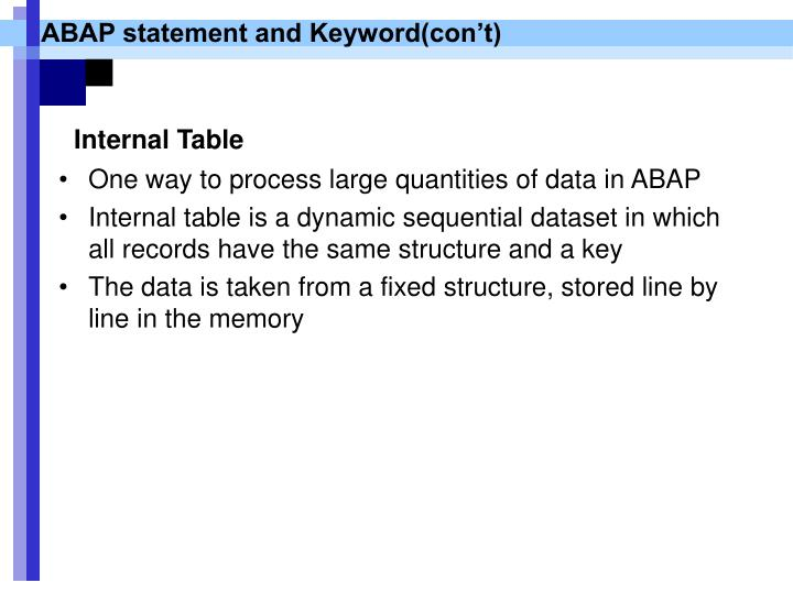 ABAP statement and Keyword(con't)