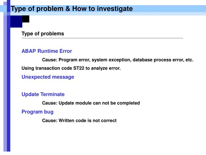Type of problem & How to investigate