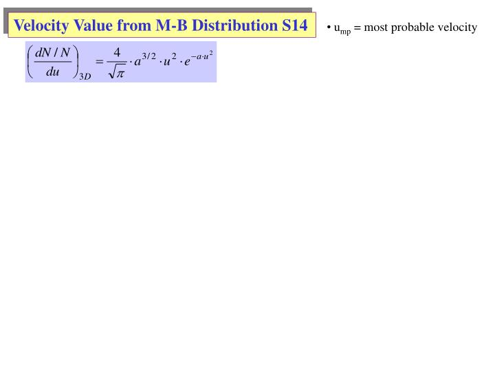 Velocity Value from M-B Distribution S14