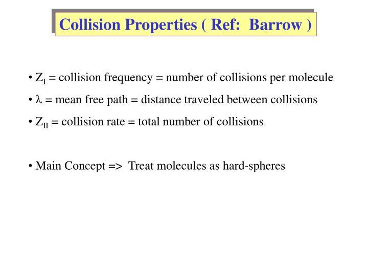 Collision Properties ( Ref:  Barrow )