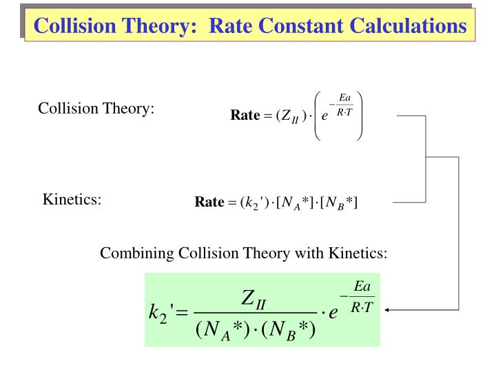 Collision Theory:  Rate Constant Calculations