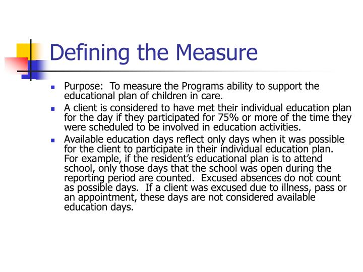 Defining the Measure
