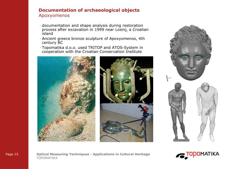 Documentation of archaeological objects