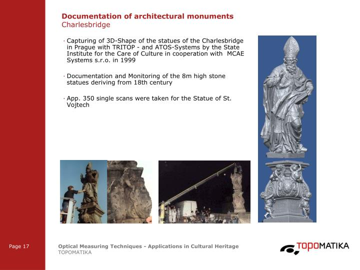 Documentation of architectural monuments