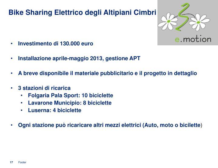 Bike Sharing Elettrico degli Altipiani Cimbri
