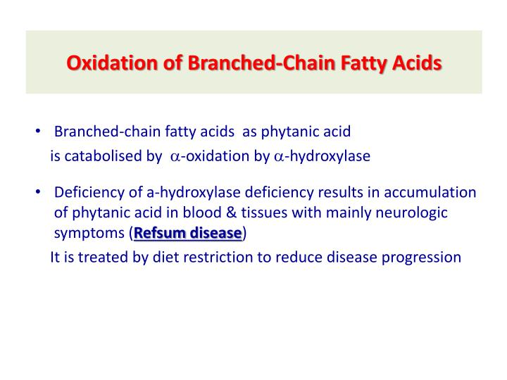 Oxidation of Branched-Chain