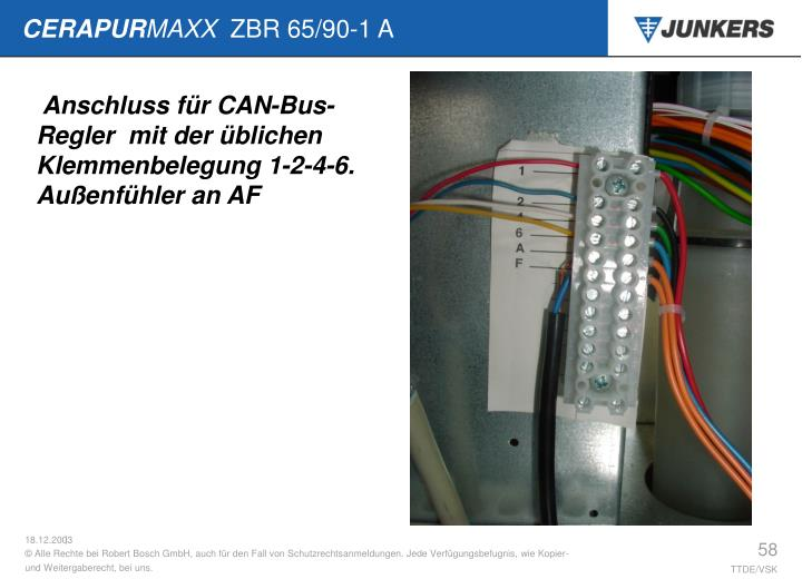 Anschluss für CAN-Bus-Regler  mit der üblichen Klemmenbelegung 1-2-4-6.