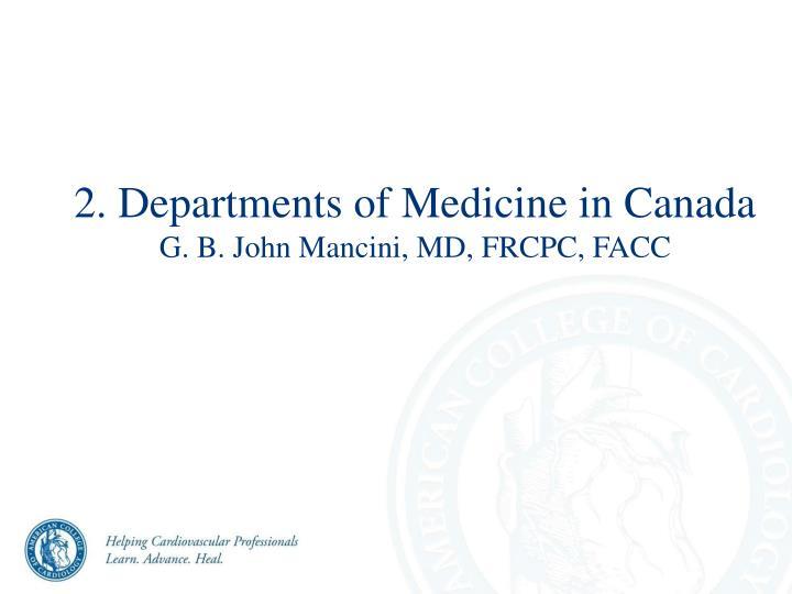 2. Departments of Medicine in Canada