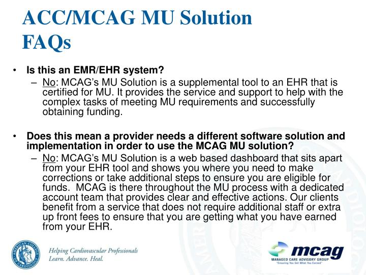 ACC/MCAG MU Solution